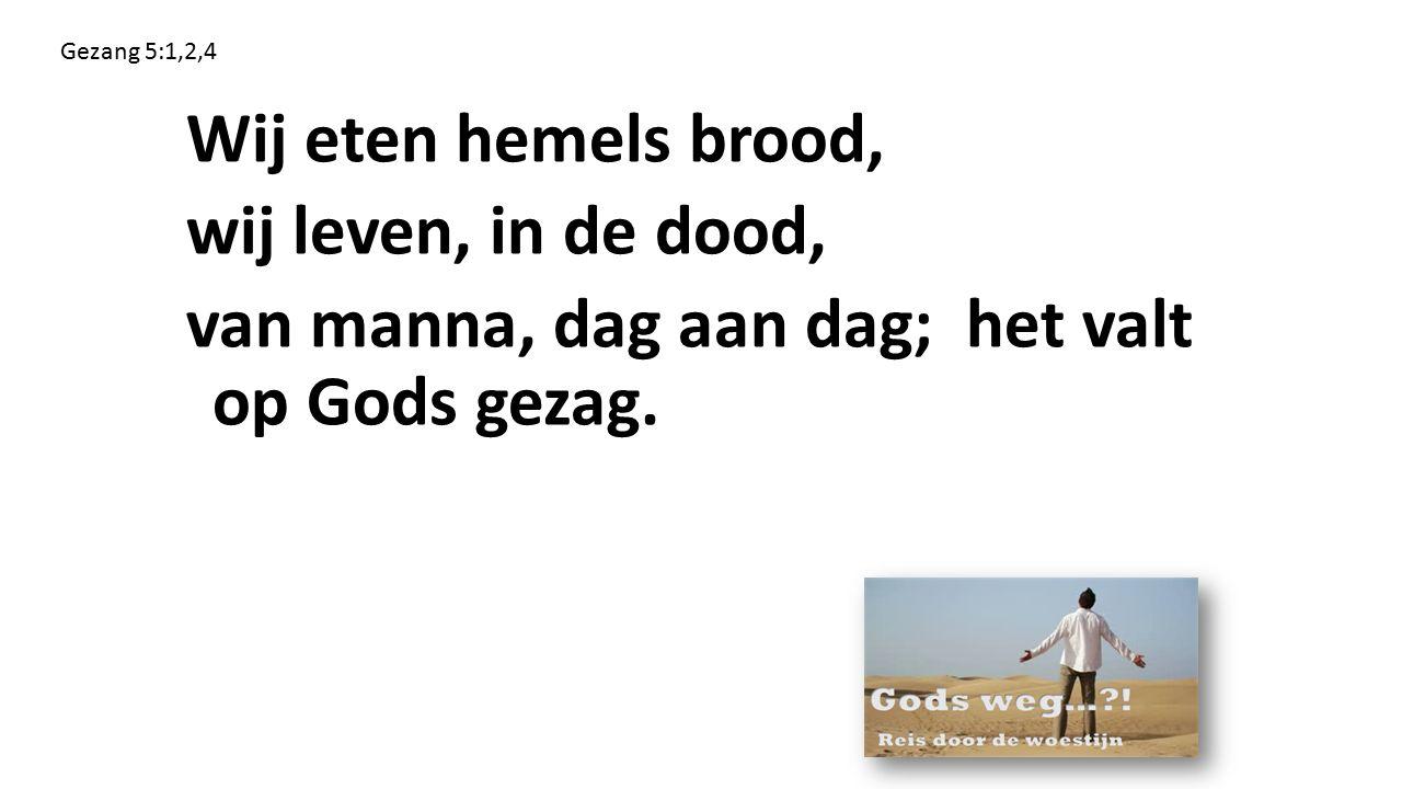 Gezang 5:1,2,4 Wij eten hemels brood, wij leven, in de dood, van manna, dag aan dag; het valt op Gods gezag.