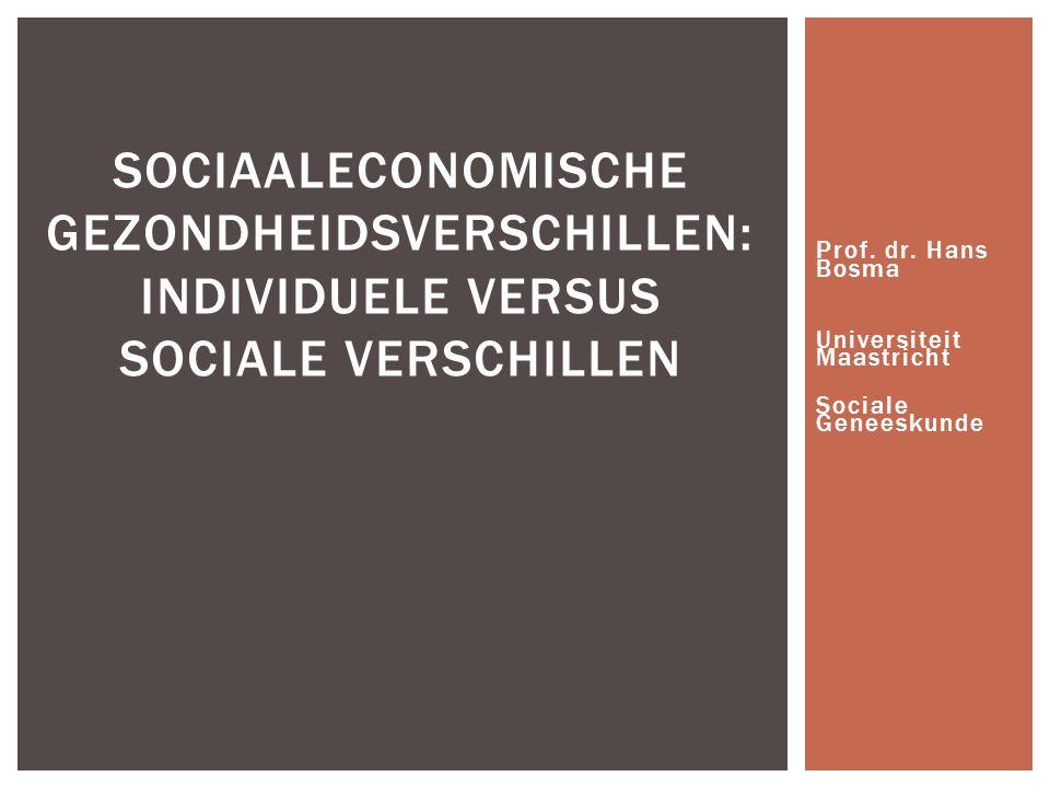 Prof. dr. Hans Bosma Universiteit Maastricht Sociale Geneeskunde