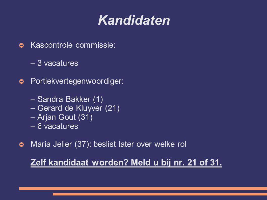 Kandidaten Kascontrole commissie: – 3 vacatures