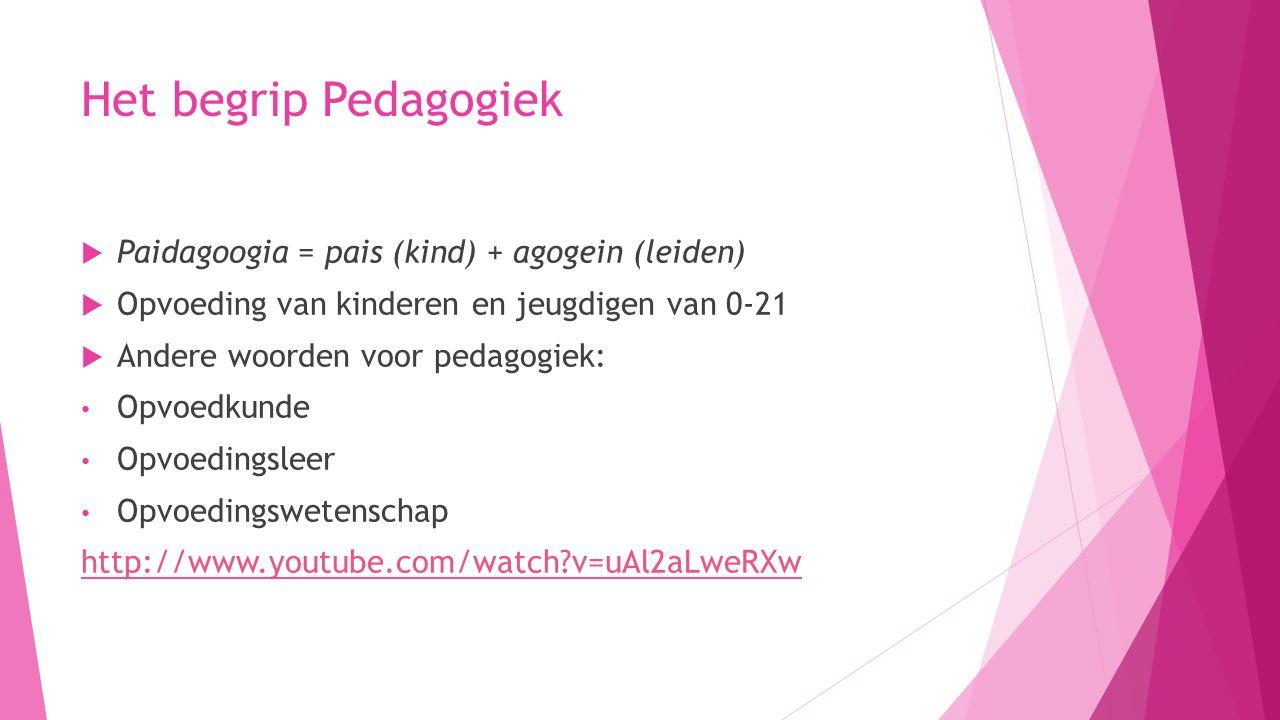 Het begrip Pedagogiek Paidagoogia = pais (kind) + agogein (leiden)