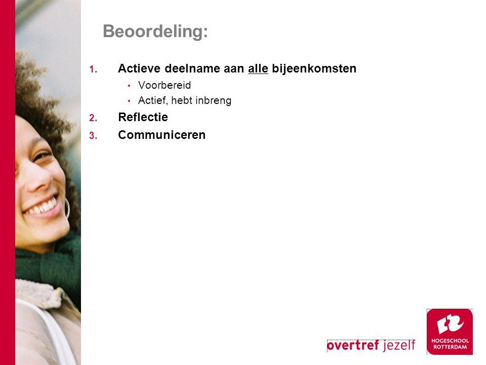 Beoordeling: Actieve deelname aan alle bijeenkomsten Reflectie