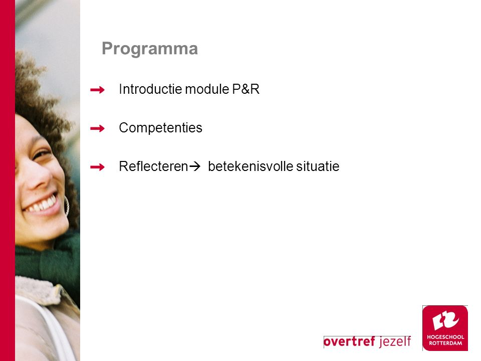 Programma Introductie module P&R Competenties