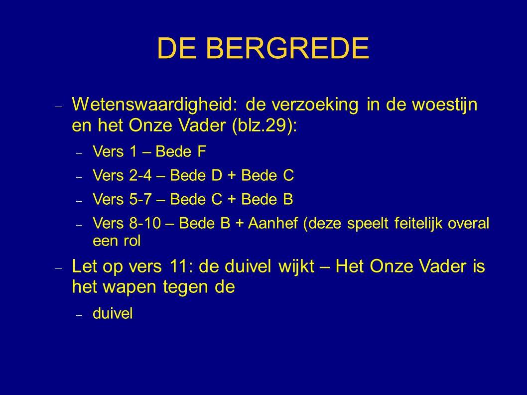DE BERGREDE Wetenswaardigheid: de verzoeking in de woestijn en het Onze Vader (blz.29): Vers 1 – Bede F.