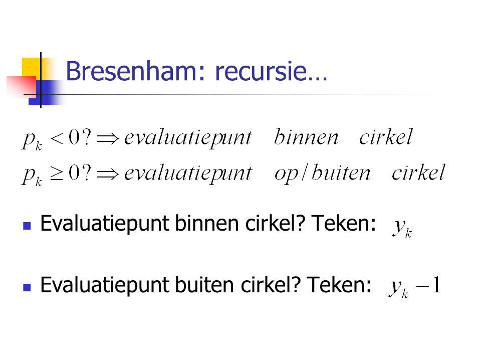 Bresenham: recursie… Evaluatiepunt binnen cirkel Teken: