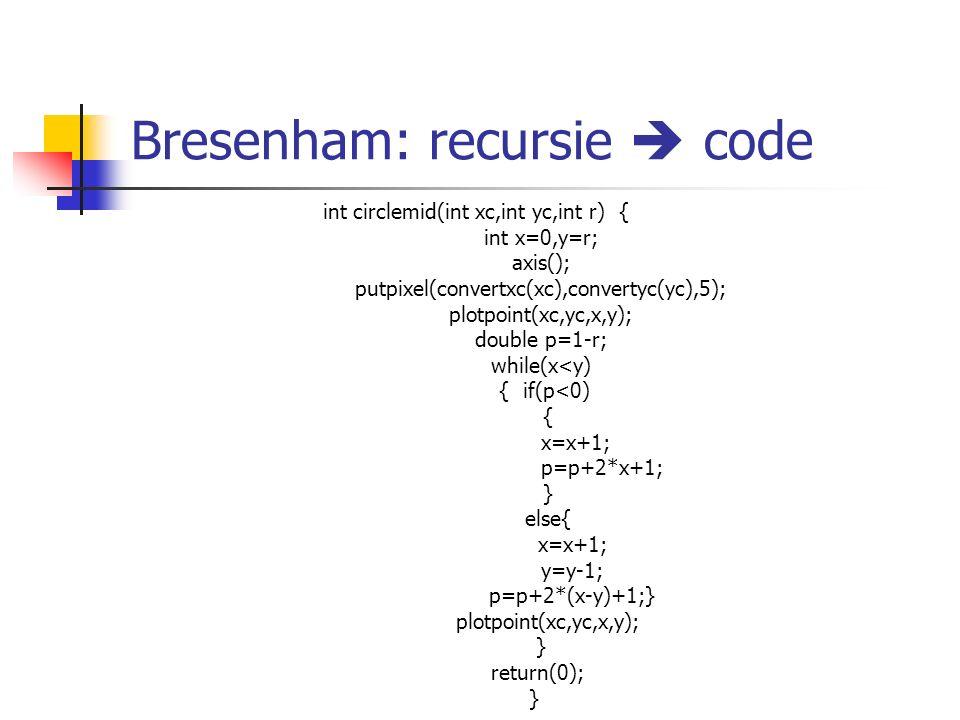 Bresenham: recursie  code