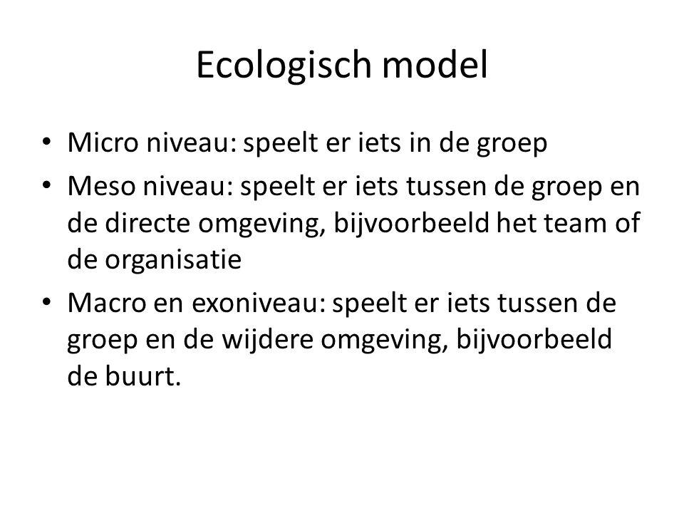 Ecologisch model Micro niveau: speelt er iets in de groep
