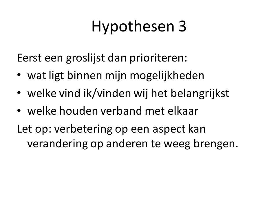 Hypothesen 3 Eerst een groslijst dan prioriteren: