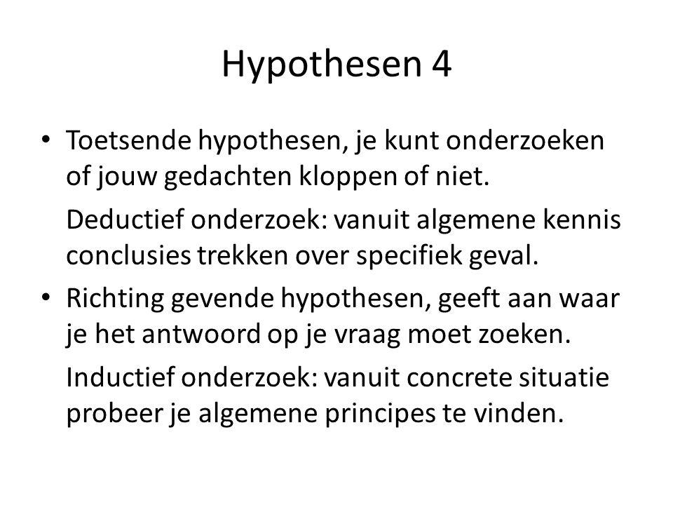 Hypothesen 4 Toetsende hypothesen, je kunt onderzoeken of jouw gedachten kloppen of niet.