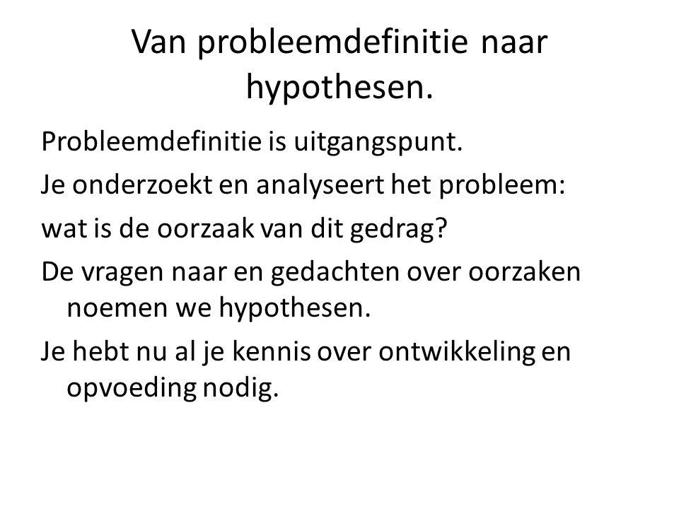 Van probleemdefinitie naar hypothesen.