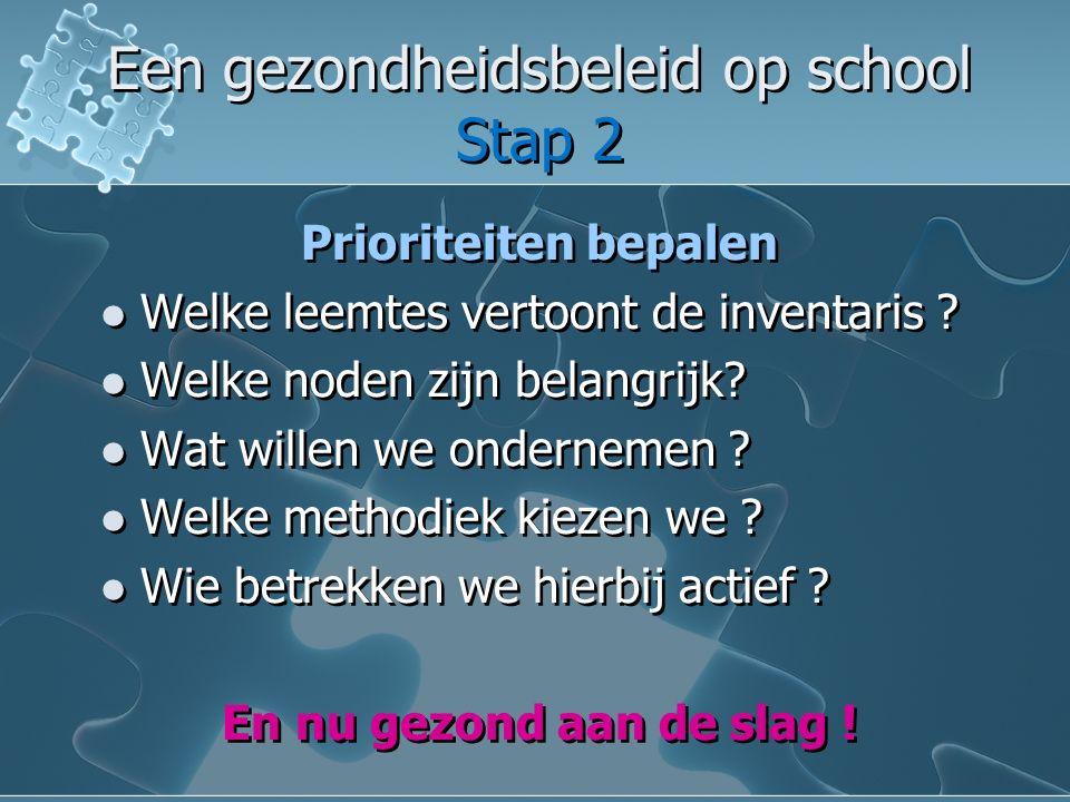 Een gezondheidsbeleid op school Stap 2