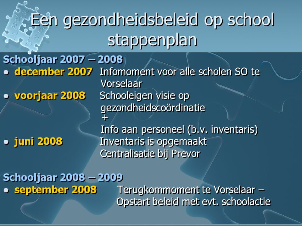 Een gezondheidsbeleid op school stappenplan