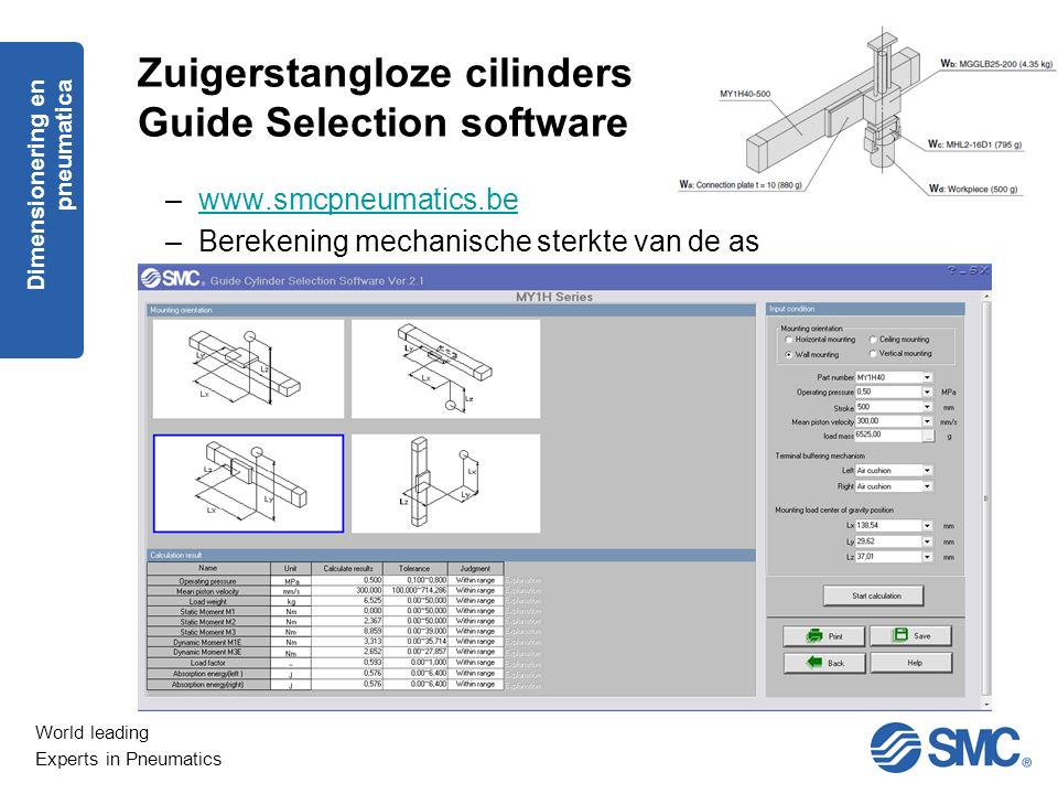Zuigerstangloze cilinders Guide Selection software