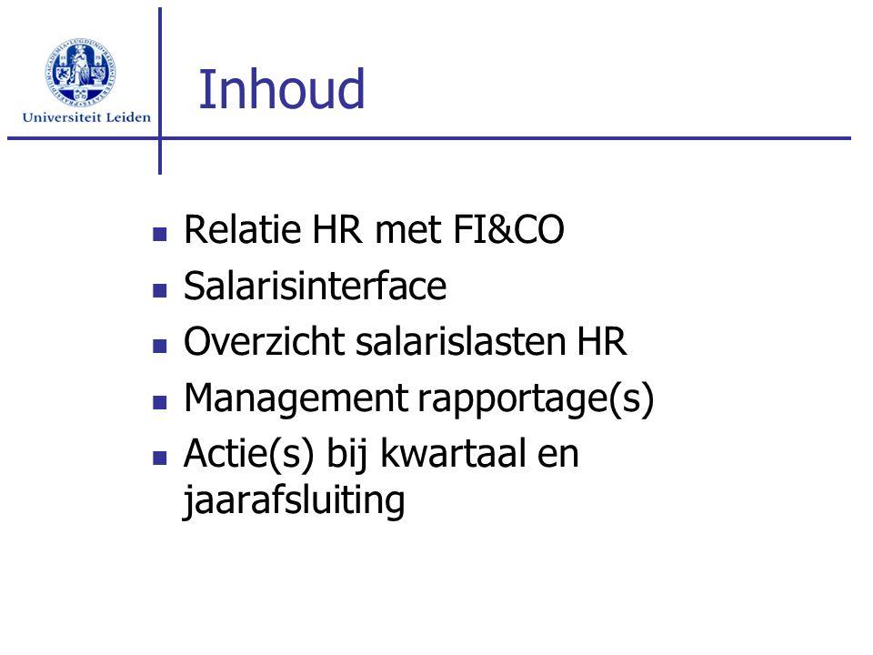 Inhoud Relatie HR met FI&CO Salarisinterface