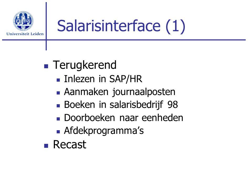 Salarisinterface (1) Terugkerend Recast Inlezen in SAP/HR