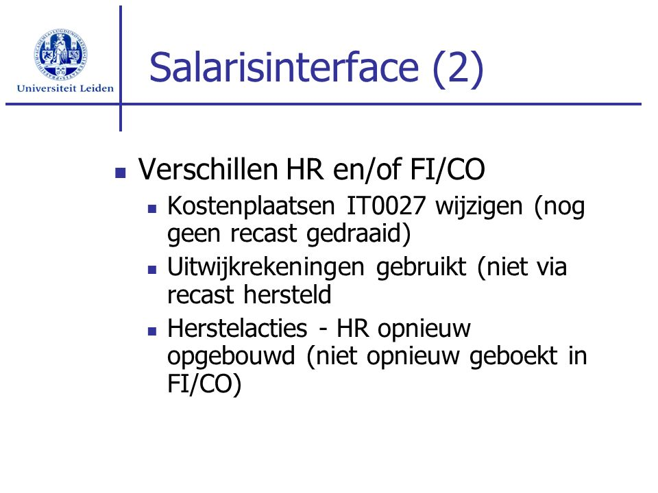Salarisinterface (2) Verschillen HR en/of FI/CO