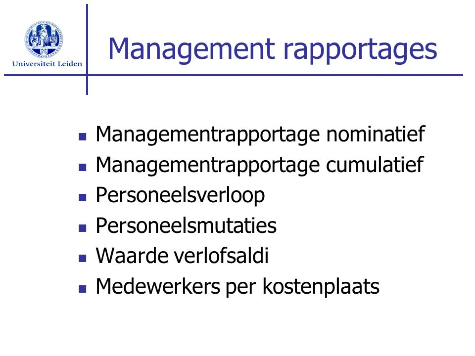 Management rapportages