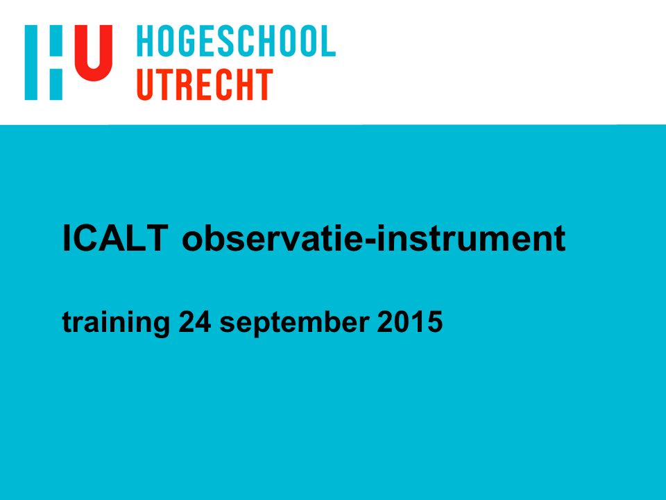 ICALT observatie-instrument training 24 september 2015