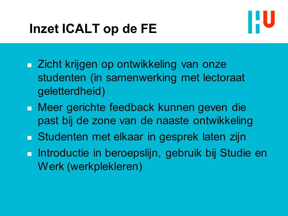 Inzet ICALT op de FE Zicht krijgen op ontwikkeling van onze studenten (in samenwerking met lectoraat geletterdheid)