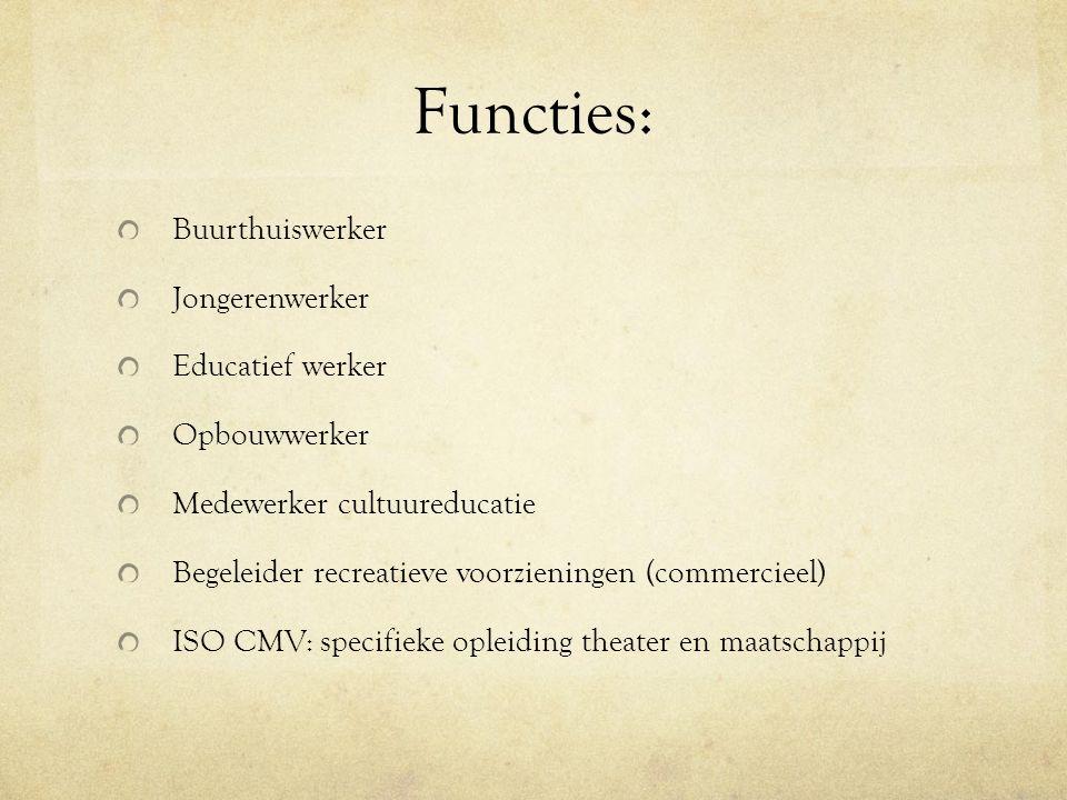 Functies: Buurthuiswerker Jongerenwerker Educatief werker Opbouwwerker