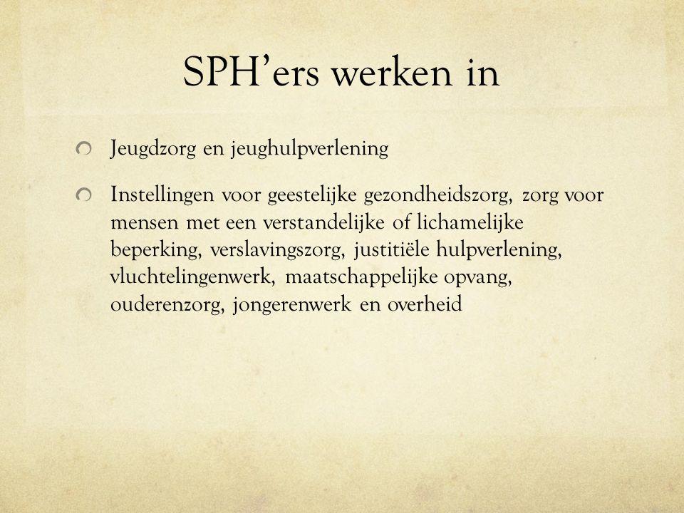 SPH'ers werken in Jeugdzorg en jeughulpverlening