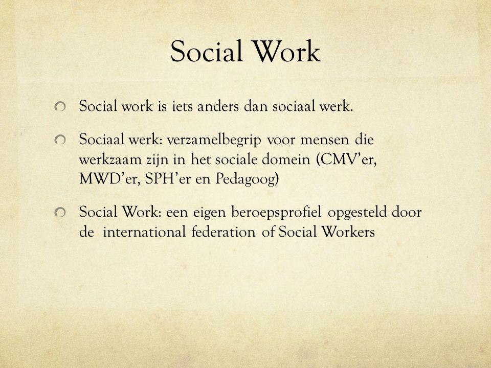 Social Work Social work is iets anders dan sociaal werk.