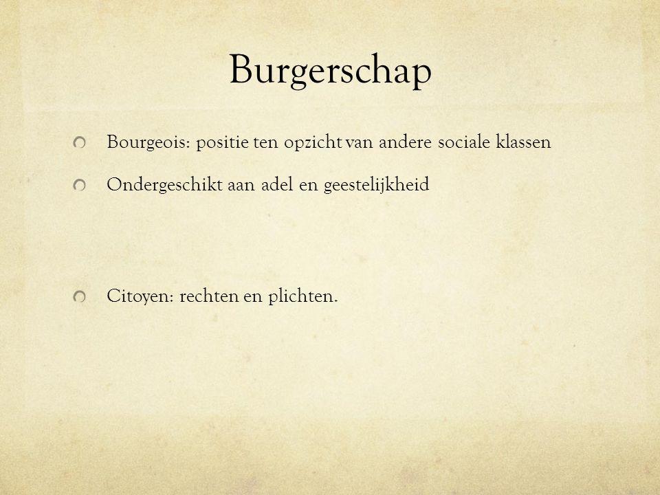 Burgerschap Bourgeois: positie ten opzicht van andere sociale klassen