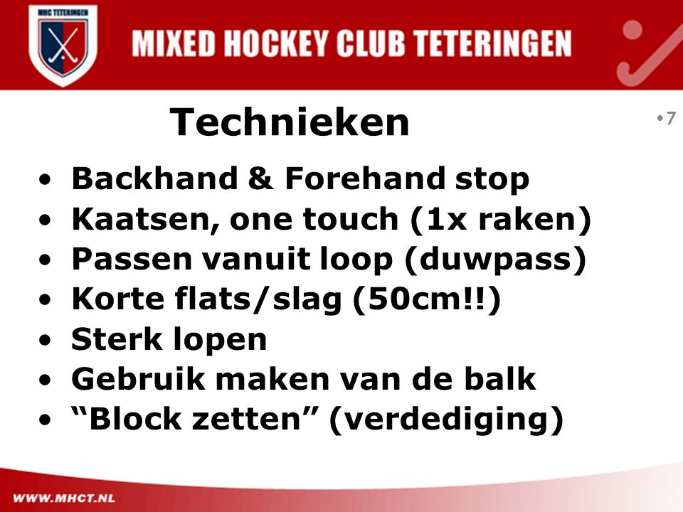 Technieken Backhand & Forehand stop Kaatsen, one touch (1x raken)