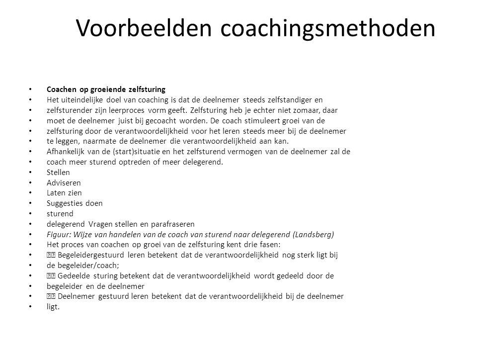 Voorbeelden coachingsmethoden