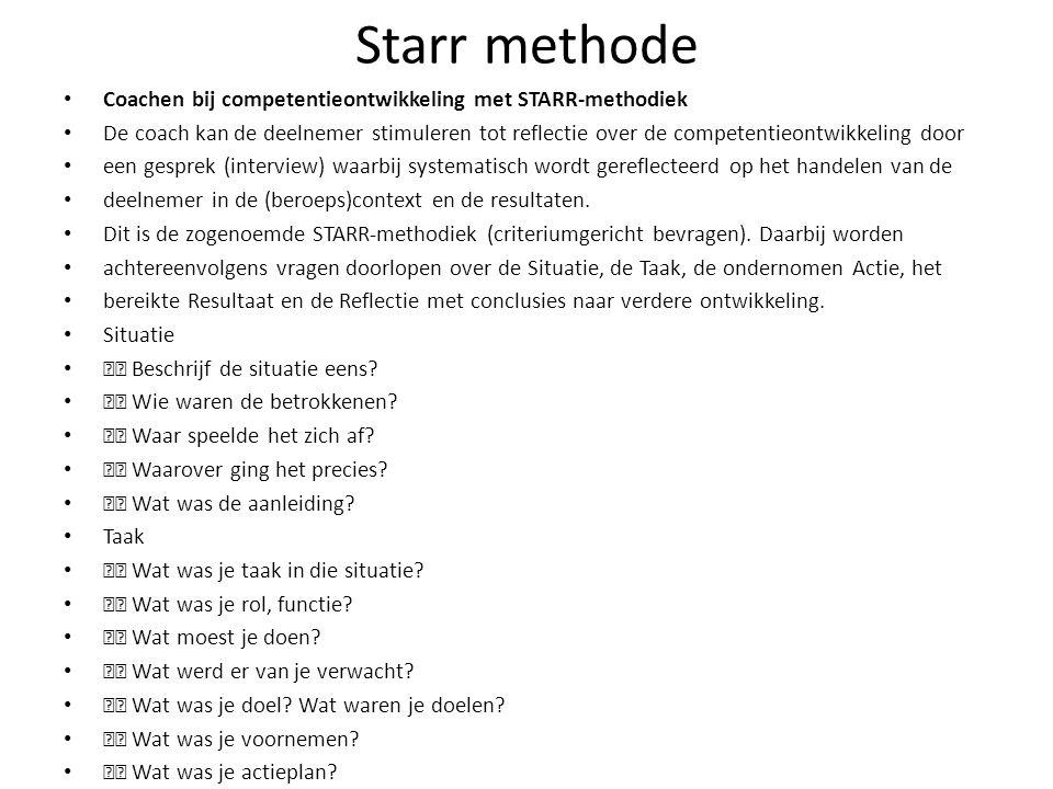 Starr methode Coachen bij competentieontwikkeling met STARR-methodiek