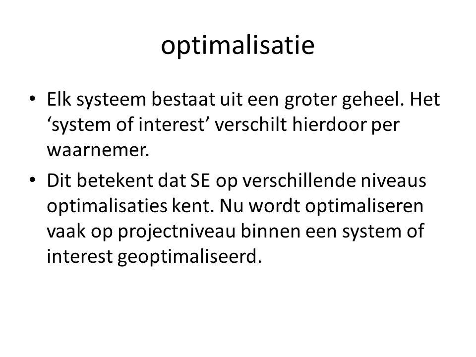 optimalisatie Elk systeem bestaat uit een groter geheel. Het 'system of interest' verschilt hierdoor per waarnemer.