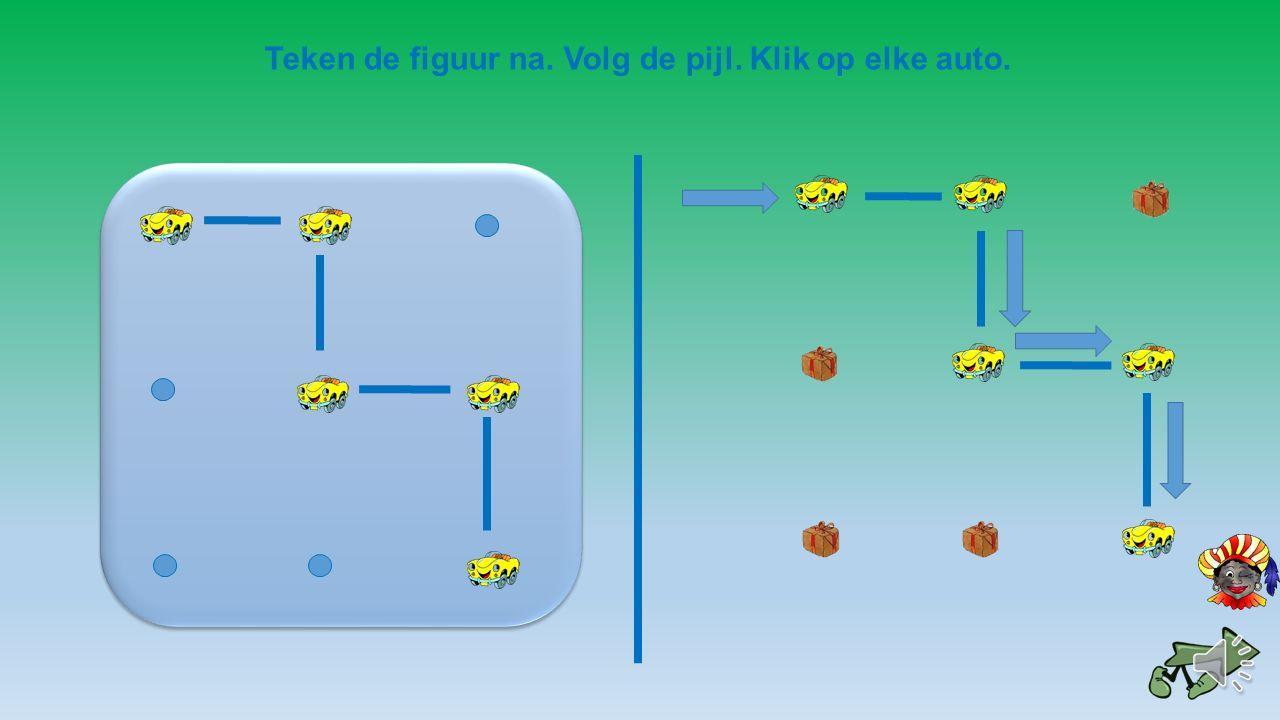Teken de figuur na. Volg de pijl. Klik op elke auto.