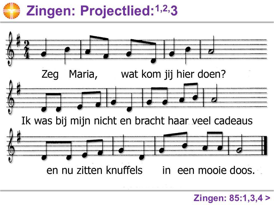 Zingen: Projectlied:1,2,3 Zingen: 85:1,3,4 >