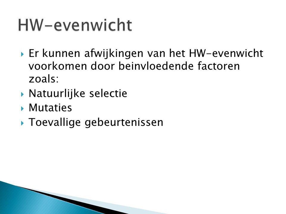 HW-evenwicht Er kunnen afwijkingen van het HW-evenwicht voorkomen door beinvloedende factoren zoals: