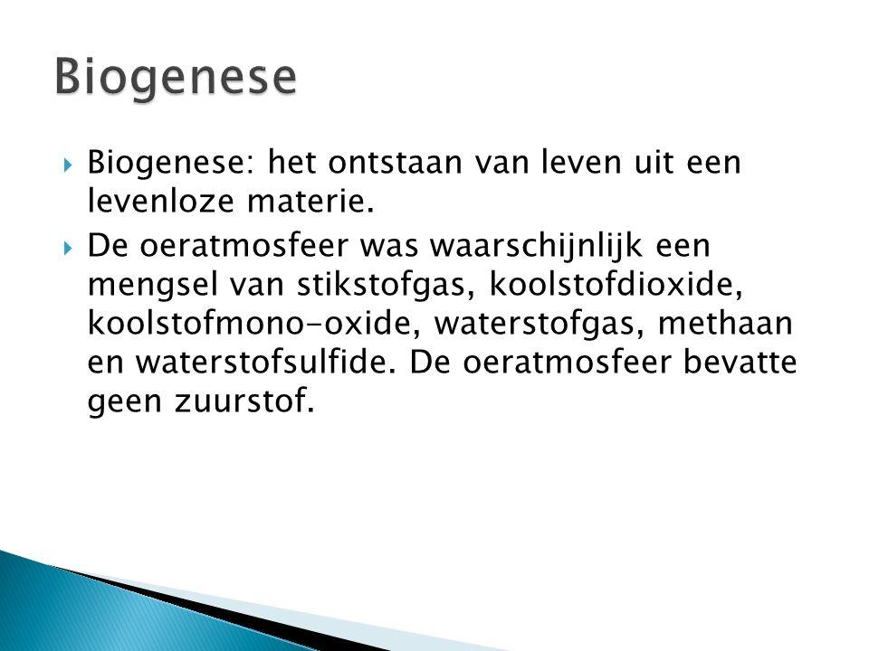 Biogenese Biogenese: het ontstaan van leven uit een levenloze materie.