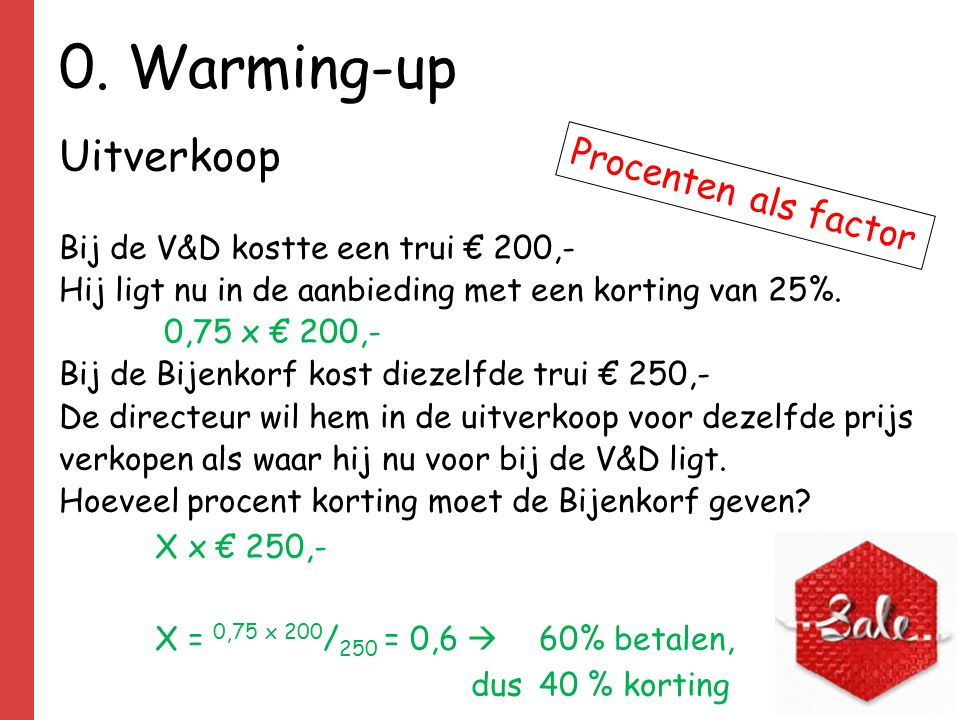 0. Warming-up Uitverkoop Procenten als factor