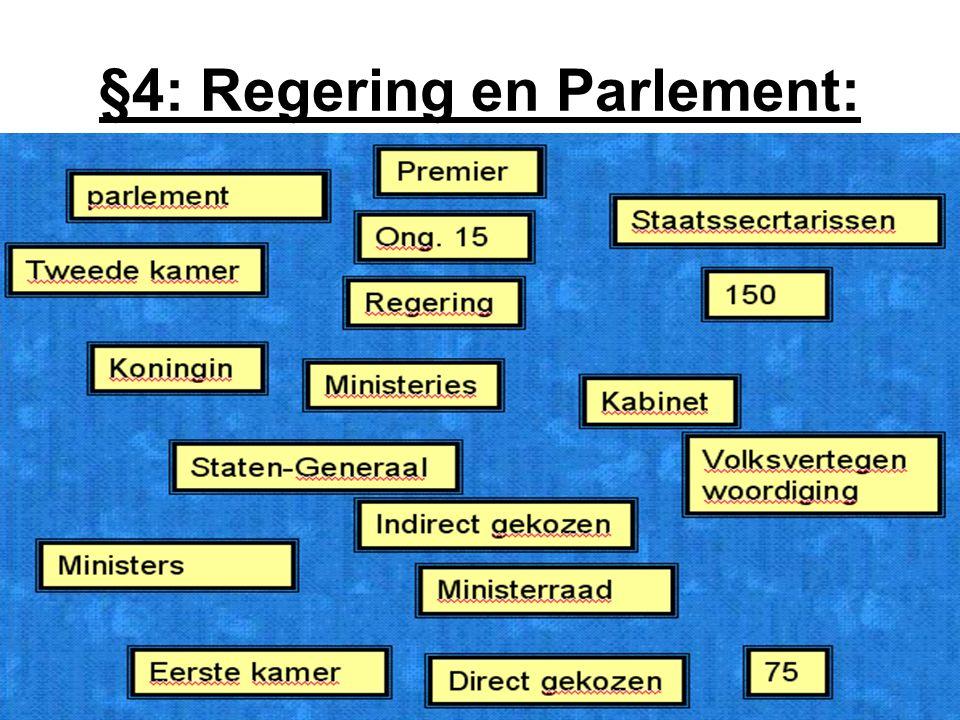 §4: Regering en Parlement:
