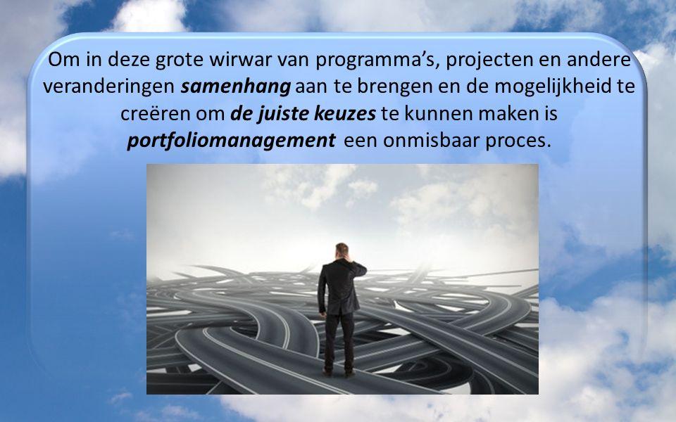 Om in deze grote wirwar van programma's, projecten en andere veranderingen samenhang aan te brengen en de mogelijkheid te creëren om de juiste keuzes te kunnen maken is portfoliomanagement een onmisbaar proces.