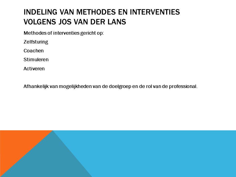 Indeling van methodes en interventies volgens Jos van der Lans