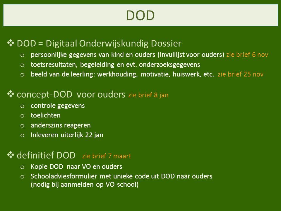 DOD DOD = Digitaal Onderwijskundig Dossier
