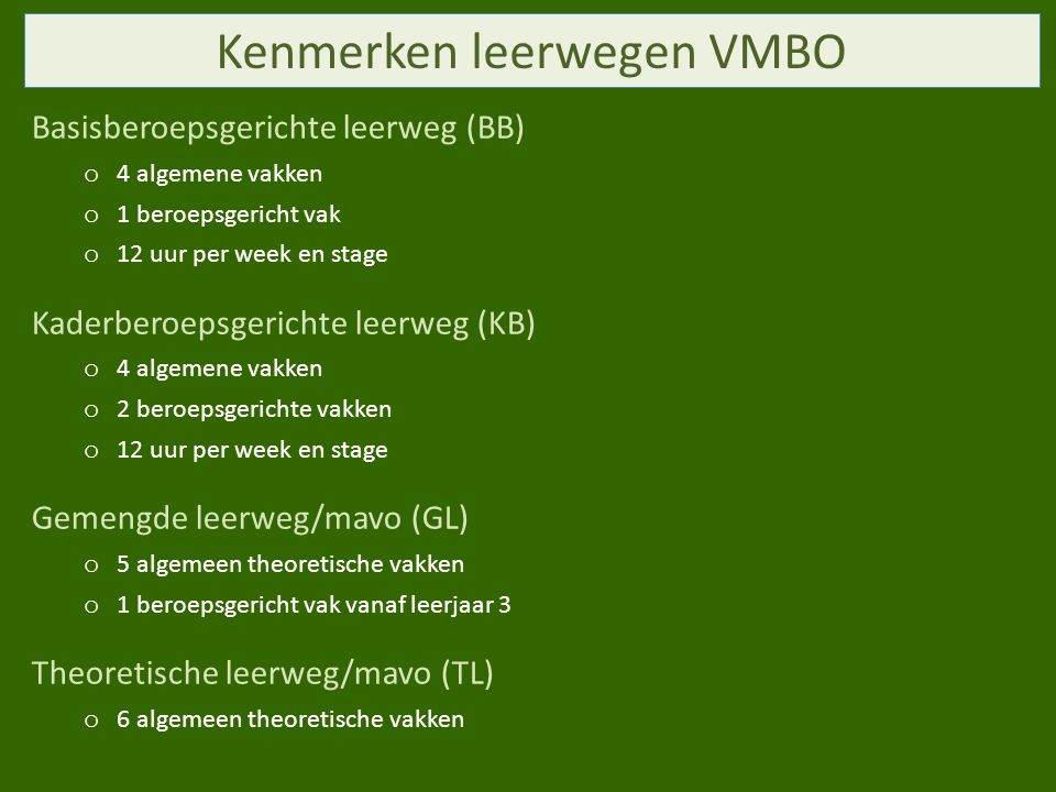 Kenmerken leerwegen VMBO