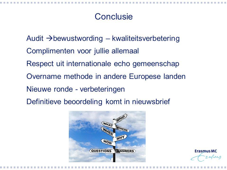 Conclusie Audit bewustwording – kwaliteitsverbetering