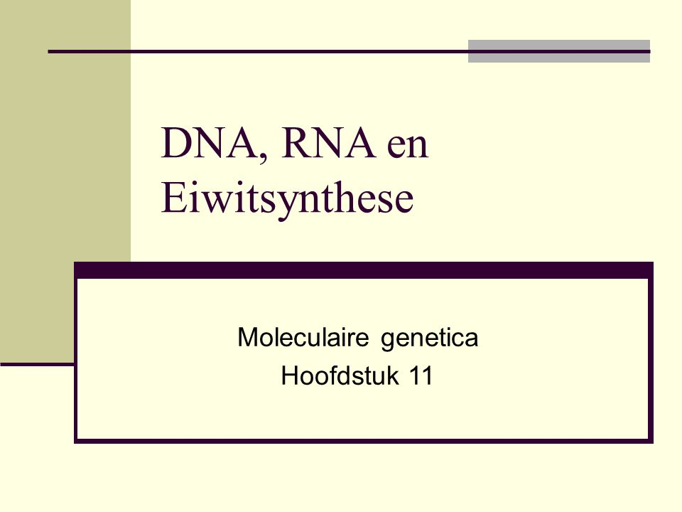 DNA, RNA en Eiwitsynthese