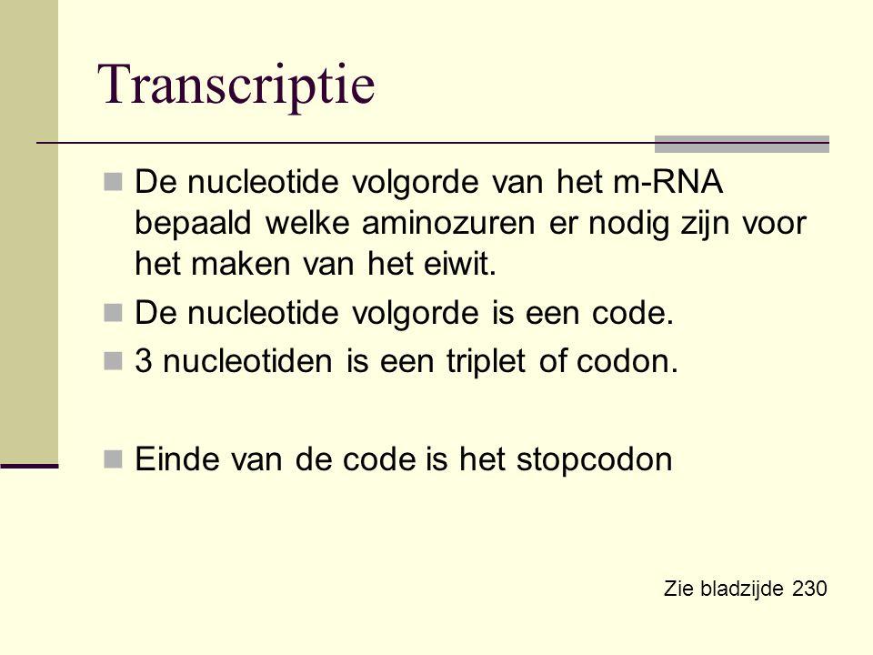 Transcriptie De nucleotide volgorde van het m-RNA bepaald welke aminozuren er nodig zijn voor het maken van het eiwit.