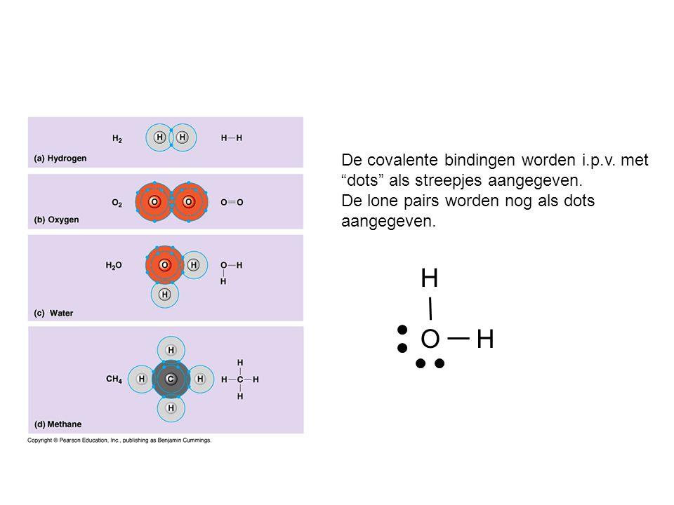 H O De covalente bindingen worden i.p.v. met
