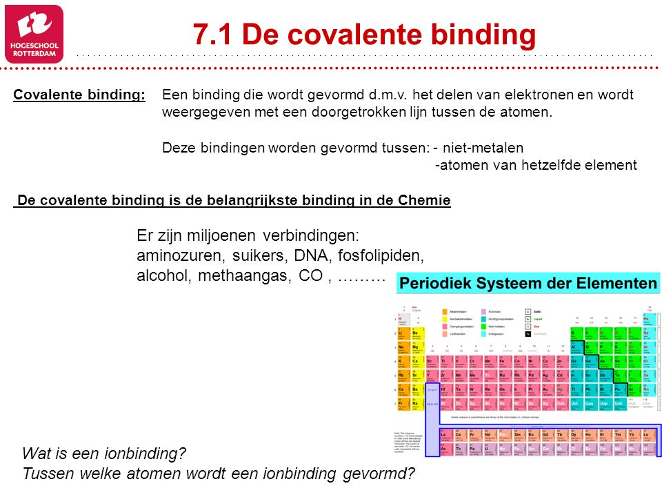 7.1 De covalente binding