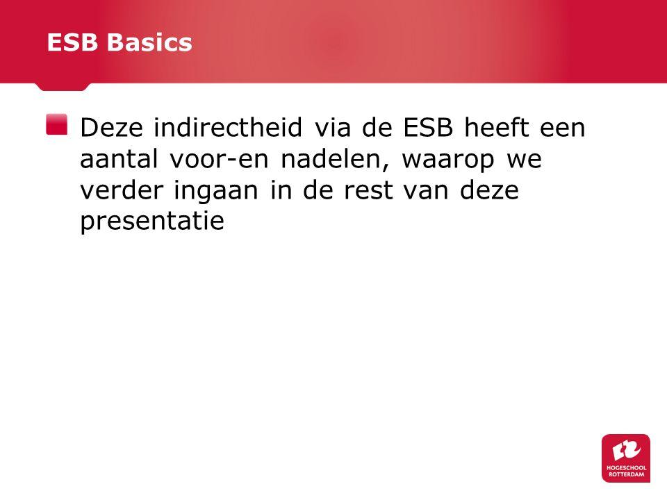 ESB Basics Deze indirectheid via de ESB heeft een aantal voor-en nadelen, waarop we verder ingaan in de rest van deze presentatie.