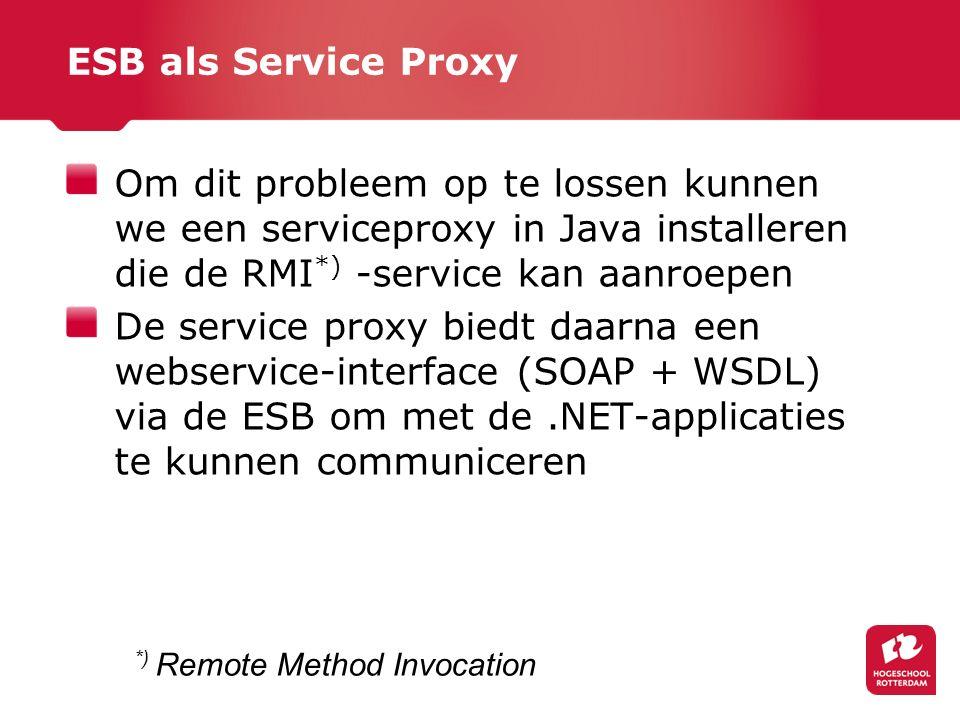 ESB als Service Proxy Om dit probleem op te lossen kunnen we een serviceproxy in Java installeren die de RMI*) -service kan aanroepen.