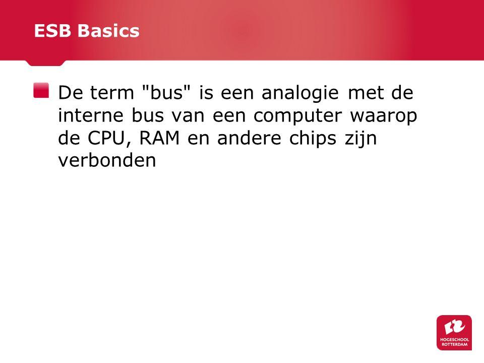 ESB Basics De term bus is een analogie met de interne bus van een computer waarop de CPU, RAM en andere chips zijn verbonden.