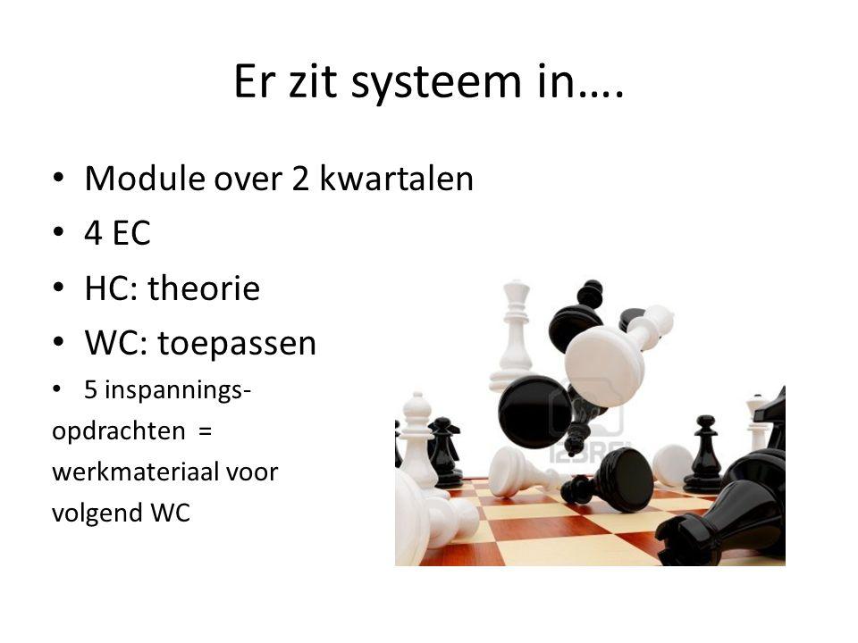 Er zit systeem in…. Module over 2 kwartalen 4 EC HC: theorie
