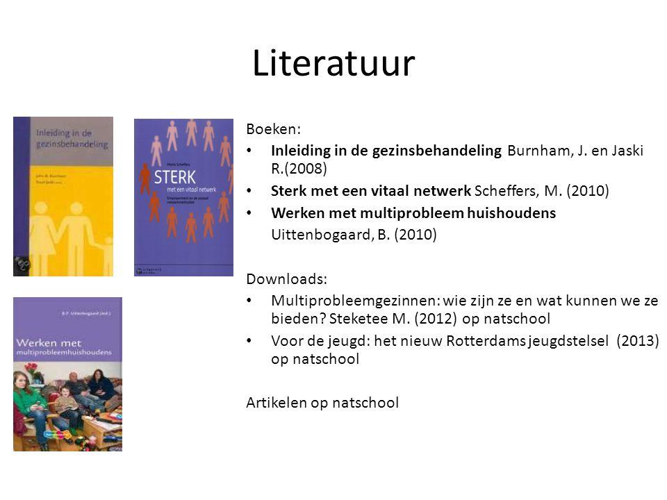 Literatuur Boeken: Inleiding in de gezinsbehandeling Burnham, J. en Jaski R.(2008) Sterk met een vitaal netwerk Scheffers, M. (2010)
